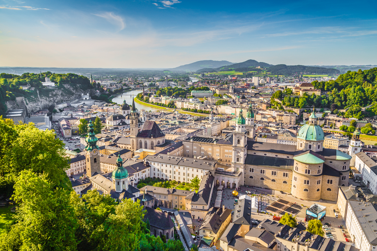 Aerial view of the historic city of Salzburg at sunset, Salzburger Land, Austria.